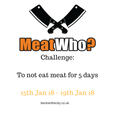 Challenge_ Don't eat meat for 5 days15th Jan 18 - 19th Jan 18